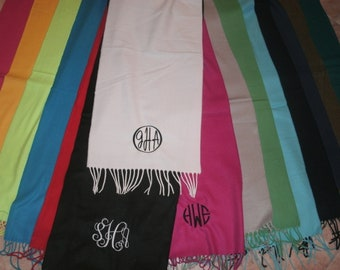 CLEARANCE Personalized Scarf Fall Winter Monogrammed Cashmere Feel Scarve