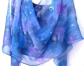 "Blue Silk Scarf, Hand Painted Silk Scarf, Nebula, Galaxy, Space Design, Stars, Planets, 71"" x 18"", Silk Chiffon Scarf"