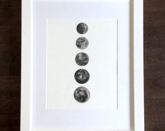 CUSTOM Watercolor Moon Painting, Framed art/Moon Phases/black grey art/8x10 art/black moon/planet/nursery art/lunar art/space art/full moon