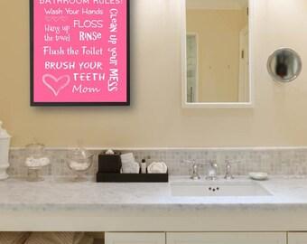 Kids Bathroom Art Decor Pink Bathroom Artwork Printable Art Print Instant Download Bathroom Wall Quote Sign