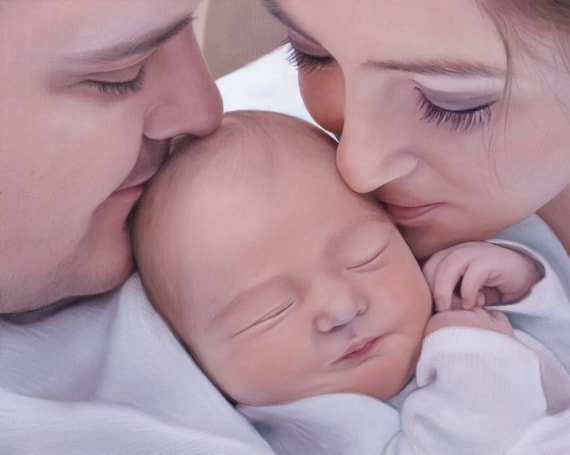 CUSTOM PORTRAIT - Painted Portrait - Family Portrait - Oil Painting on Canvas - Custom Painting - Baby Portrait - Baby Painting
