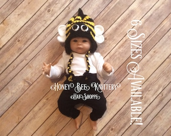 Honey Bee Hat - 6 sizes available, READY TO SHIP; beehive, bug, buzz, hornet, insect, black, yellow jacket, bumble bee