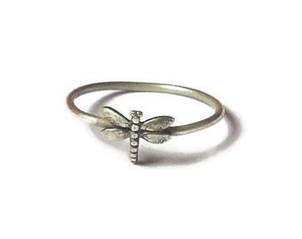 Dragonfly dainty ring, sterling silver, dainty ring, dragon fly ring, staking ring, stackable ring