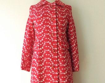 Vintage Red Brocade Coat/1960's Mod Floral Brocade Coat/Bullock's/S-M