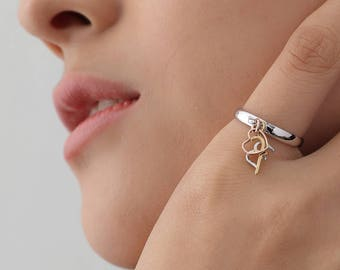 Personalized ring with letter pendant PR001