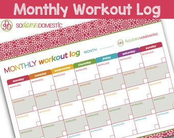 """Monthly Workout Log Printable Planner - Letter Size 8.5"""" x 11"""""""