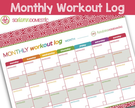 Monthly Workout Log Printable Planner Letter Size 8.5