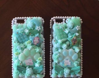 PREMADE SET Mint Twin decoden case with rhinestones for the iPhone 6 Plus