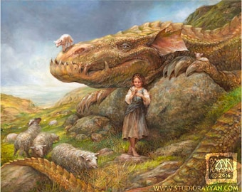 The Shepherdess (print) - dragon sheep girl fantasy art landscape