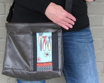 Large Vegan Leather Crossbody Bag - Mod Cats Crossover Bag - Gray Vegan Leather - pearthreads.com