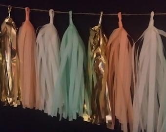 ONLY 14.99, 20 Tassel Peach Mint Green Tissue Tassel Paper Garland, Wedding Decorations, Streamers, Pom Pom Garland, Tassel Garland, Fringe