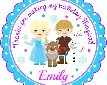 Frozen Stickers, Personalized Frozen Labels, Frozen Birthday Party - Set of 12