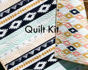Arizona Quilt Kit, Tribal Baby Bedding Blanket Project, April Rhodes Art Gallery Fabrics, Mint Gold Navy Coral, Wholecloth Panel Cheater
