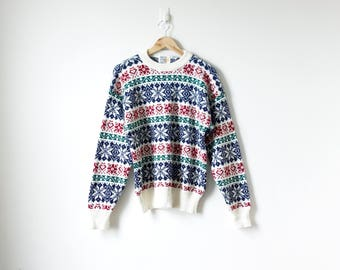 90s Fair Isle Sweater - 90s Sweater Vintage Sweater 90s Clothing - Red Green Blue Chunky Sweater - Boho Sweater - Hippie Sweater - Men's M