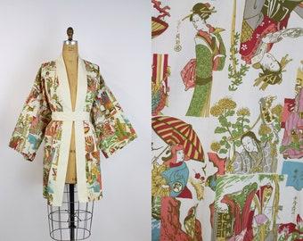 Vintage Kimono Robe / Midi Kimono / Wedding Nightgown / Bridal Robe / Japanese Kimono / Unisex / Novelty Print / One Size
