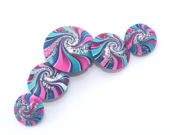 5- Blue pink purple colorful focal polymer clay beads w silver touch beads for jewelry making, unique swirl lentil Boho design beads