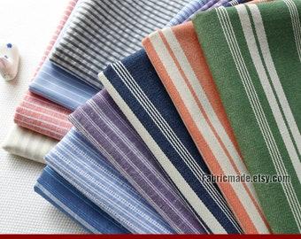 Yarn Dye Stripes Cotton Fabric, Orange Grey Green Stripes Cotton Fabric- 1/2 Yard