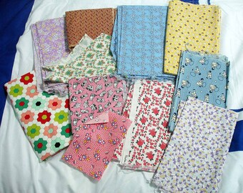 Fabric By The Pound, 30s Reproduction Fabrics, Fabric Grab Bag, 1 Pound, Approx 3 yards, All Sizes & Colors - One Pound Remaining