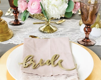 bride and groom : wedding place cards / place settings