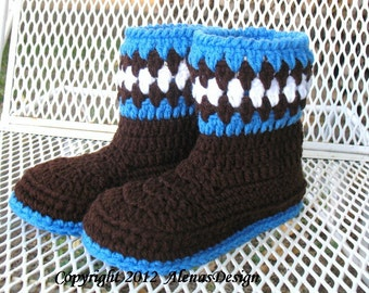 Crochet Pattern 065 - Childrens Boots Boys Girls Toddler Child Winter Booties Slippers Brown Boots Ear Flap Hat Bear Ears Mittens