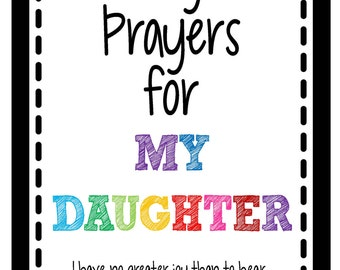 Prayers for My Daughter Scripture Cards - Female: Instant Digital Download