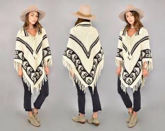 70's Chevron Sweater Poncho
