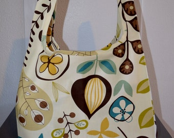 Turquoise, Yellow and Brown Reusable Grocery Bag