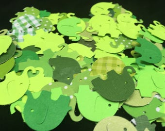 Shades of Green Elephant Confetti - 100 count.