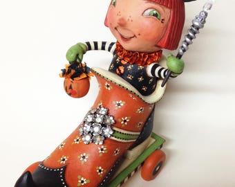 Magical Matilda - EHAG - Hand sculpted, OOAK, original paper mâché, Halloween, witch, boot, Trick or Treat, pumpkin, artist Alycia Matthews