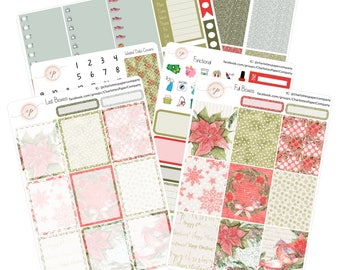 Christmas Planner Stickers / Poinsettia / Planner Stickers / Erin Condren Planner Stickers / WK-32