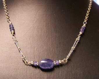 Sterling Silver Tanzanite Polished Pebble Necklace