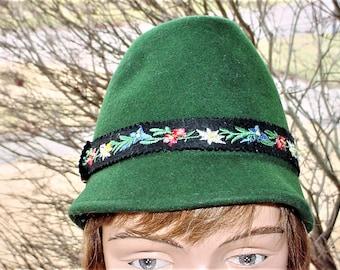 Vintage 60s Green Felt Tyrol Alpine Hat Hiking