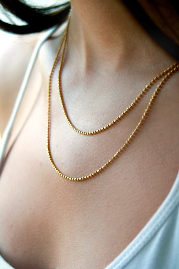 Lovely Double layered gold chain necklace / gold multi strand DS71