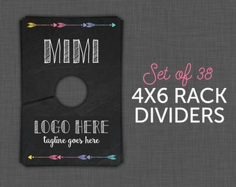 45 Rack Dividers -  Style Names,  Style Cards - Rack Cards - Black - 4x6 - Digital - Printable - INSTANT DOWNLOAD