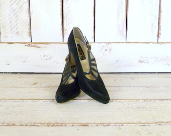 Black high heel suede leather vintage shoes/5