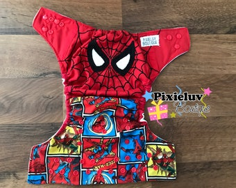 Comic Inspired Spiderman Embroidered One Size Cloth Diaper, Pocket Diaper (Photoshoot)