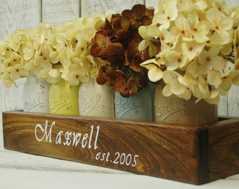 Personalized Mason jar centerpiece, Mason jar decor, Personalized gift, Farmhouse kitchen decor, rustic home decor, mason jar decor, mason