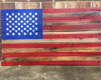 Handcrafted Wooden American Flag