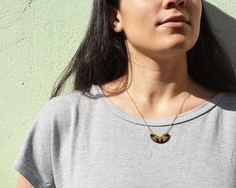 Half circle necklace, Gift under 50, Minimal Geometric brass Necklace, Moon necklace, Wooden necklace, Geometric pendant, Sun necklace
