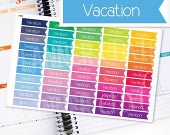 Planner Stickers Erin Condren Life Planner (Eclp) - 55 Vacation Flag Header Stickers (#7006)
