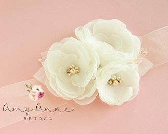 Ivory Wedding Sash, Ivory Bridal Sash, Ivory Wedding Belt,  Ivory Bridal Belt - Ivory Flowers