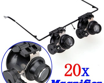 LED Lighted 20X Magnifier Magnifying Eye Glasses Jeweler Loupe ---------------- US SELLER with Fast Shipping