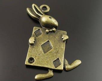 2 pendants rabbit from Alice in metal bronze