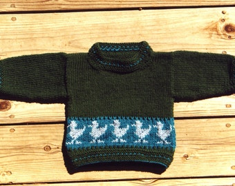 Childrens Sweater pattern for the Hand Knitter - Ducks In A Row