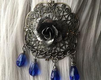 CLEARANCE Victorian Burning Man Headpiece, Flower Hair Accessories, Blue Hair Flower, Blue Hair Bow, Blue Hair Clip, Blue Jewels
