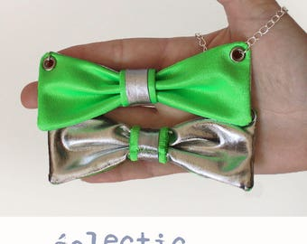 Necklace loop fabric green and silver screen