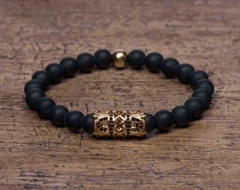 Gold Imperial Bracelet - Matte Black Onyx