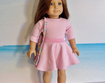18 inch Doll Light Pink Skater Dress plus Optional Shoes & Handbag