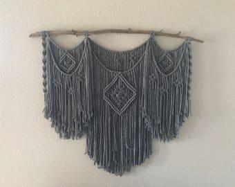 Lg. Macrame Wall Hanging, Charcoal Macrame