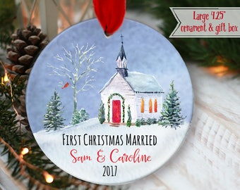 """LARGE 4.25"""" Rustic First Christmas as Mr & Mrs Ornament Hanging lights string lights Personalized Christmas Ornament, mdf wood OR998"""